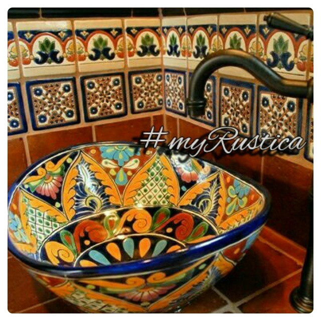 mexican painted talavera bathroom sink